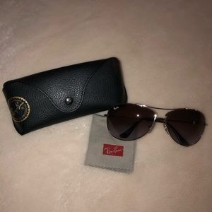 RAY-BAN Brown & Silver Aviator Sunglasses